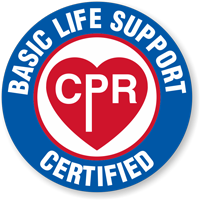 CPR Basic Life Support Certified Hard Hat Decals