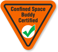 Confined Space Buddy Certified Hard Hat Decals
