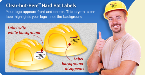 Clear Hard Hat Stickers with Logo