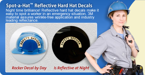 Reflective Rocker Hard Hat Decal with Title
